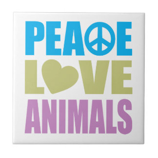 Peace Love Animals Ceramic Tiles