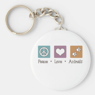 Peace Love Animals (Two Paws) Basic Round Button Keychain