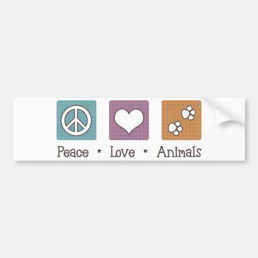 Peace Love Animals (Two Paws) Bumper Sticker