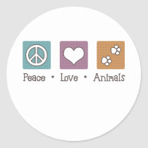 Peace Love Animals (Two Paws) Classic Round Sticker
