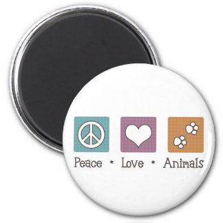 Peace Love Animals (Two Paws) Refrigerator Magnets