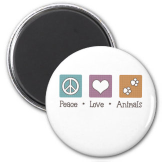 Peace Love Animals (Two Paws) Magnet