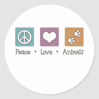 Peace Love Animals (Two Paws) Stickers
