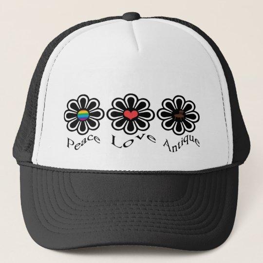 Peace Love Antique Trucker Hat