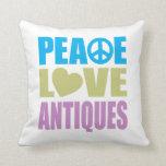Peace Love Antiques Throw Pillows