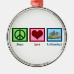Peace Love Archaeology Round Metal Christmas Ornament