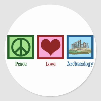 Peace Love Archaeology Round Stickers