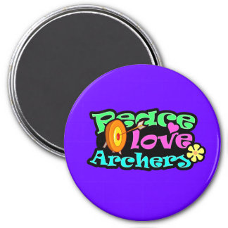 Peace, Love, Archery 3 Inch Round Magnet