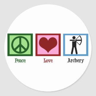 Peace Love Archery Classic Round Sticker