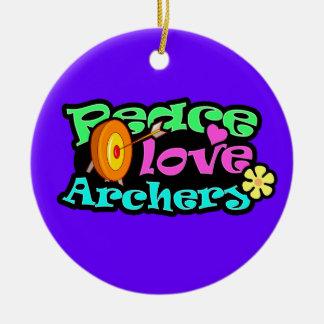 Peace, Love, Archery Christmas Ornament