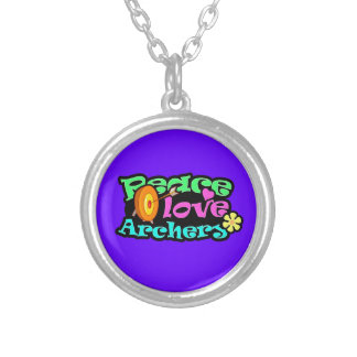 Peace, Love, Archery Silver Plated Necklace