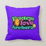 Peace, Love, Archery Throw Pillow