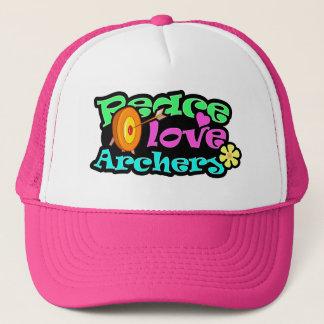 Peace, Love, Archery Trucker Hat