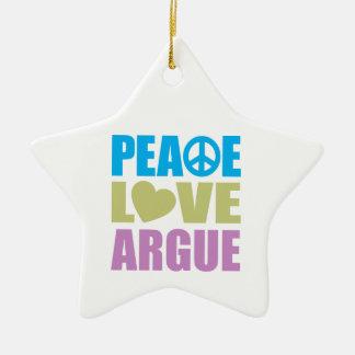 Peace Love Argue Double-Sided Star Ceramic Christmas Ornament