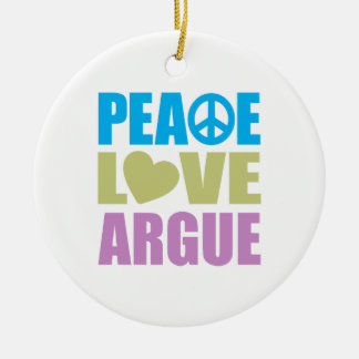 Peace Love Argue Double-Sided Ceramic Round Christmas Ornament