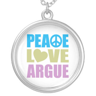Peace Love Argue Silver Plated Necklace