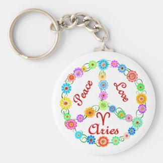 Peace Love Aries Basic Round Button Keychain