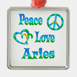 Peace Love Aries Christmas Ornaments