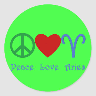 Peace Love Aries Products Classic Round Sticker