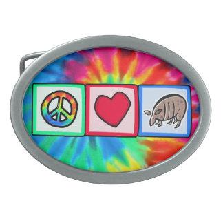 Peace, Love, Armadillos Belt Buckle