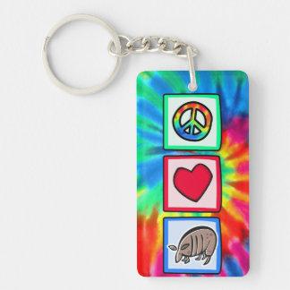 Peace Love Armadillos Rectangle Acrylic Keychain