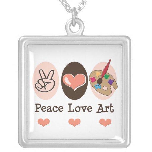 Peace Love Art Necklace