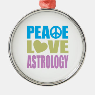 Peace Love Astrology Round Metal Christmas Ornament