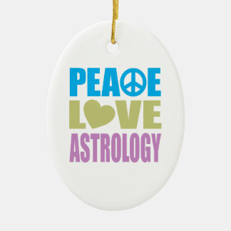 Peace Love Astrology Double-Sided Oval Ceramic Christmas Ornament