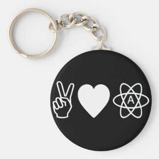 Peace Love Atheism Basic Round Button Keychain