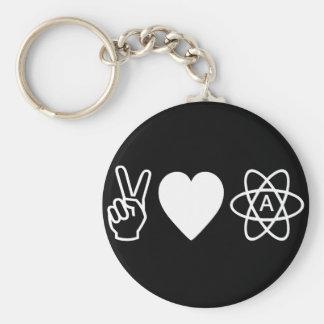 Peace Love Atheism Basic Round Button Keychain