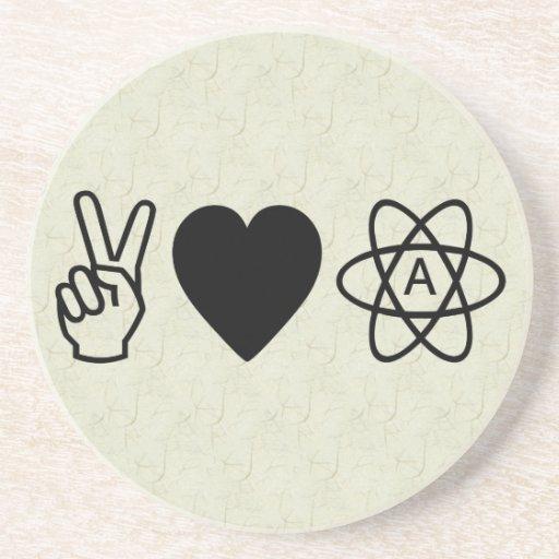 Peace Love Atheism Beverage Coaster