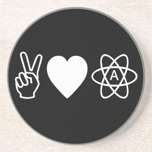 Peace Love Atheism Coaster