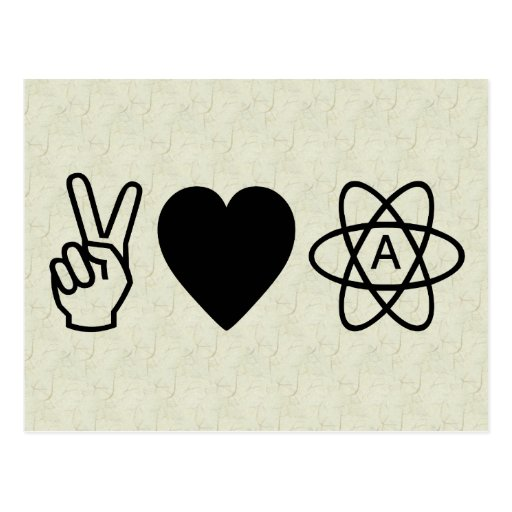 Peace Love Atheism Post Card