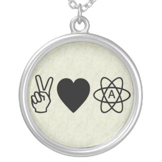 Peace Love Atheism Round Pendant Necklace