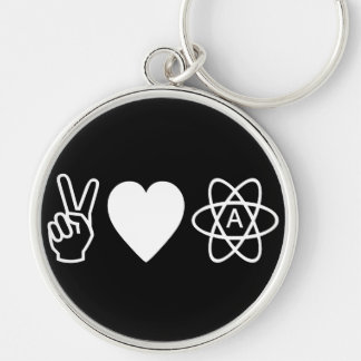 Peace Love Atheism Silver-Colored Round Keychain