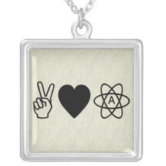 Peace Love Atheism Square Pendant Necklace