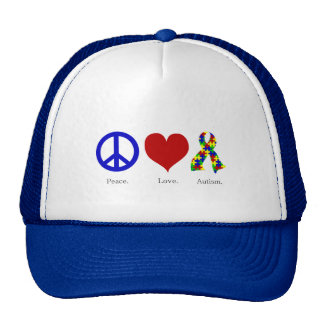 Peace. Love. Autism. (bright colored) Hat