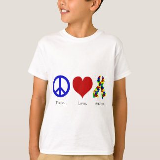 Peace. Love. Autism. (bright colored) Kids Basic T-Shirt