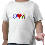Peace. Love. Autism. (bright colored) Toddler Tshirts
