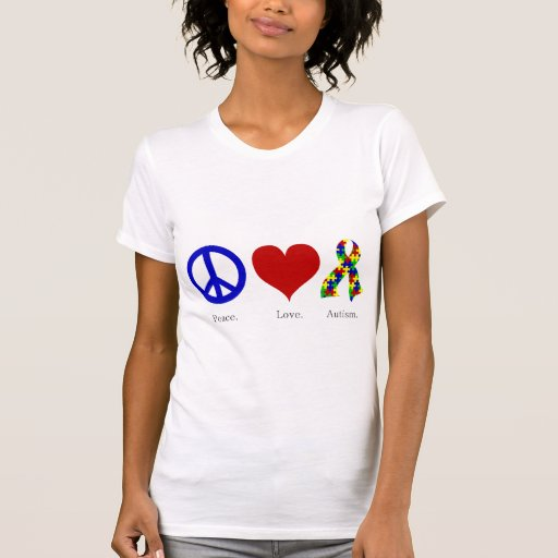 Peace. Love. Autism. (bright colored) Women's Tshirt