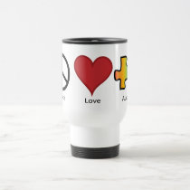 Peace Love Autism Mugs