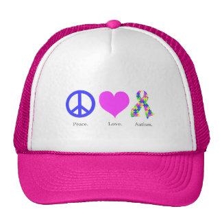 Peace. Love. Autism. (pastel colored) Hat