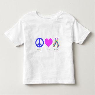 Peace. Love. Autism. (pastel colored) Toddler T Shirt