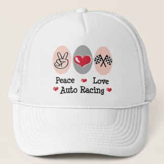 Peace Love Auto Racing Checkered Flag Cap
