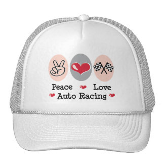 Peace Love Auto Racing Checkered Flag Cap Trucker Hat