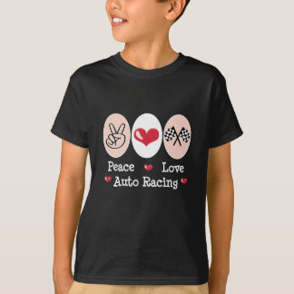 Peace Love Auto Racing Checkered Flag Kids T-shirt