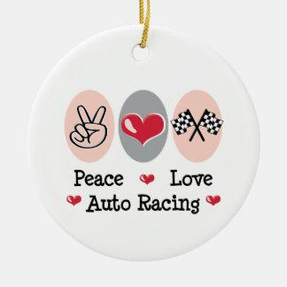 Peace Love Auto Racing Ornament