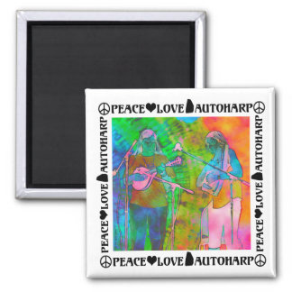 Peace Love Autoharps Fridge Magnet