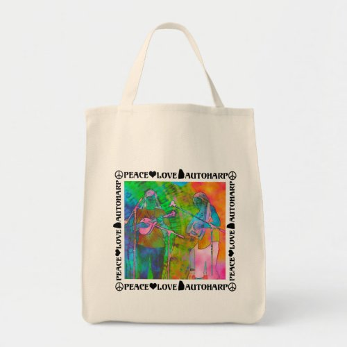 Peace Love Autoharp Colorful Sixties Poster Style Grocery Tote Bag