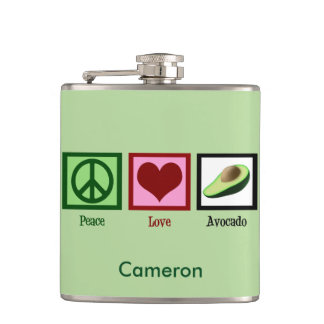 Peace Love Avocado Custom Green Hip Flask